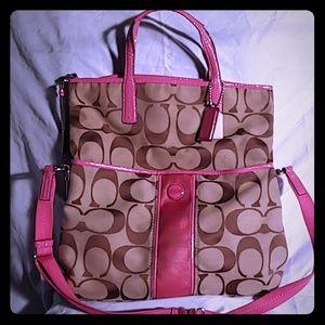 Coach foldover tote messenger bag